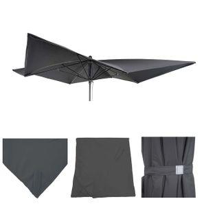 Bezug für Luxus-Sonnenschirm MCW-A37, Sonnenschirmbezug Ersatzbezug, 3x3m (Ø4,24m) Polyester  anthrazit