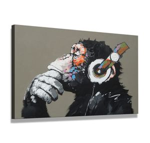 80 x 60 cm Bild auf Leinwand Affe mit Kopfhörer 4002-SCT deutsche Marke und Lager  -  Die Bilder / das Wandbild / der Kunstdruck ist fertig gerahmt
