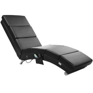 Casaria Relax Stuhl London mit Heizung und Massagefunktion Stoff / Kunstleder ergonomischer Wohnzimmer Liegestuhl Liegestuhl, Farbe:Kunstleder schwarz