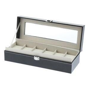 6 Slots Uhrenbox Für Herren   Luxus Kunstleder Uhren Vitrine, Schmuck Aufbewahrung, Große Halterung Mit Metallschnalle