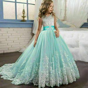Kinder Blumenmädchen Tüll Partykleid Prinzessin Tutu Spitze Hochzeit Abendkleid Grün 130