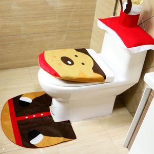 Weihnachts WC Set Bad Sitz Badezimmer Toiletten Dekoration Toilettensitz Deko