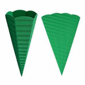 Creleo - Schultüte grün aus 3D Wellpappe 68cm 1 Stück - Zuckertüte als Rohling zum basteln, bemalen und bekleben