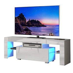 YOLEO TV-Lowboard Fernsehschrank Fernsehtisch TV-Schrank mit LED-Beleuchting Stehend TV-Regal 130x35x45 cm Weiß