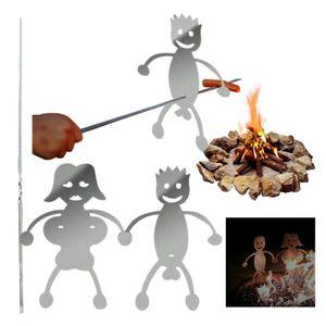 10 Stk Edelstahl Grillgabel  + 2 Stk Hot Dog Boy Grillgabel Marshmallow Girl Backform Lagerfeuer Spieße