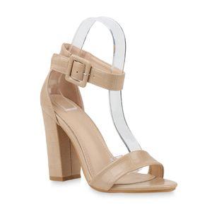 Mytrendshoe Damen Sandaletten High Heels Blockabsatz Sandalen Sommerschuhe 833080, Farbe: Beige, Größe: 38