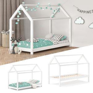 VitaliSpa Kinderbett WIKI 90x200 cm Weiß Schlafplatz Spielbett Hausbett Kinderhaus
