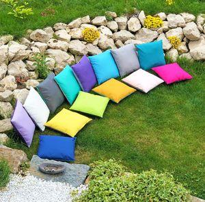JACK 2-farbiges Wende Outdoor Lounge Kissen 45x45cm Dekokissen Wasserfest Sitzkissen Garten Stuhl Lotus Effekt, Farbe:Grau - Rosa