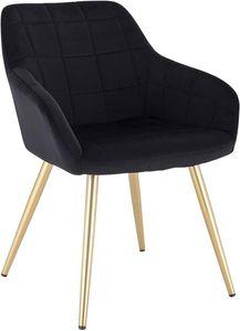 WOLTU Esszimmerstuhl BH232sz-1 1 Stück Küchenstuhl Polsterstuhl Wohnzimmerstuhl Sessel mit Armlehne, Sitzfläche aus Samt, Gold Beine aus Metall, Schwarz