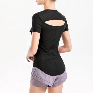 Frauen Sport T-Shirt Mesh Spleissen Aushoehlen Aushoehlen Eng anliegende Kurzarm aermel Feuchtigkeitstransportierende Athletic Yoga Running Shirt Tops