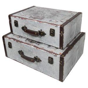 HMF VKO101 Holzkoffer im Vintage-Design, Weltkarte, 2er Set