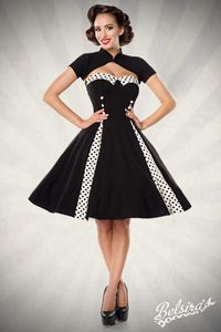 Vintage-Kleid mit Bolero, Farbe: Schwarz/Creme, Größe: M