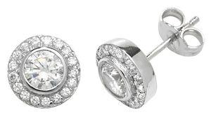 Wunderschöne 925 Sterling Silber Damen - Paar Ohrstecker mit Zirkonia - 9mm*9mm; WJS22684