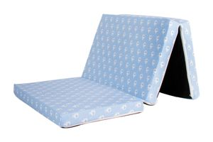 Reisebett-Matratze, Kindermatratze, Bezug 100% Baumwolle,120x60x6cm, Babyblume Elefant blau