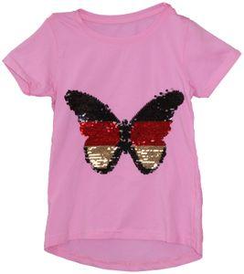 THREE OAKS Rundhals-Shirt funkelndes Kinder Pailletten T-Shirt mit Schmetterling Rosa, Größe:140