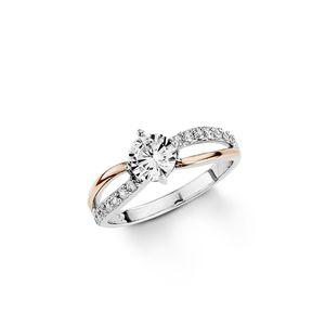 Amor Schmuck Ring für Damen, Sterling Silber 925, Zirkonia 58 18,5