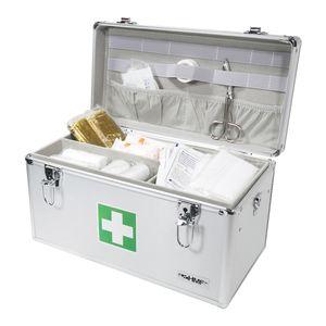 HMF 14701-09 Medizinkoffer, Erste Hilfe Koffer, Aluminium, Arzneikoffer, 40 x 22,5 x 20,5 cm, silber