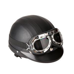Motorrad Roller Open Face Halbes Leder-Helm Winter Winddichter Helmmit Visier UVschutzbrille Retro Vintage Style 54-60cm