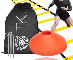 Agility Koordination Set - Trainingsleiter & Markierungshütchen Hütchen Kegel für Slalom Trainingszubehör & Fußballzubehör für Fußball, Leichtathletik UVM.