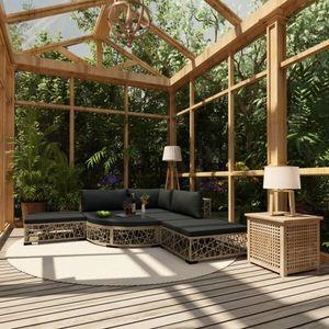 Huicheng Poly Rattan 6-tlg. Garten Lounge Set Sitzgruppe Gartengarnitur Ecksofa Gartenmöbel Sets mit Auflagen Grau