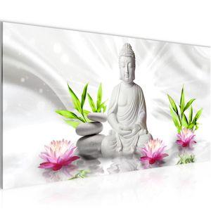 Buddha Feng Shui BILD 100x40 cm − FOTOGRAFIE AUF VLIES LEINWANDBILD XXL DEKORATION WANDBILDER MODERN KUNSTDRUCK MEHRTEILIG 011612c