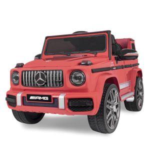 Kinder-Elektroauto Mercedes Benz G63 AMG Kinderauto Kinderfahrzeug 2,4GHz Bluetooth Fernbedienung und Hartgummi Bereifung Elektrofahrzeug Elektro Fahrzeug (Rot)