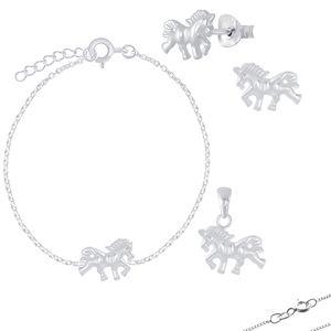 Pferde Schmuck: Kinder Ohrstecker, Kette oder Armband aus 925 Silber, Modell:Halskette