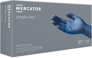 Vinyl-Handschuhe einfache puderfreie Einmalhandschuhe MERCATOR Simple Vinyl Blue, Größe:M - 100 Stück