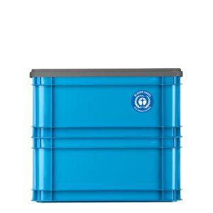 2x Gies Ecoline Universalbox 30 Liter Blau + 1 Deckel Stapelbox Aufbewahrungsbox Transportkiste 50,2