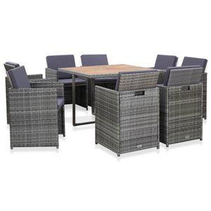 9-teiliges Outdoor-Essgarnitur Garten-Essgruppe Sitzgruppe Tisch + stuhl mit Auflagen Poly Rattan Anthrazit