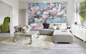 "Komar Fototapete ""Magnolia"", blau/weiß/rosa, 368 x 254 cm"