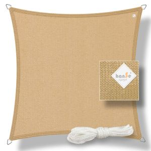 hanSe® Marken Sonnensegel HDPE Quadrat 3x3m Sand UV-Schutz Sonnenschutz Schattenspender