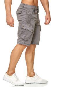 Herren Cargo Shorts Chino Bermuda Kurze Hose Stretch Sommer, Farben:Grau, Größe Shorts:29W
