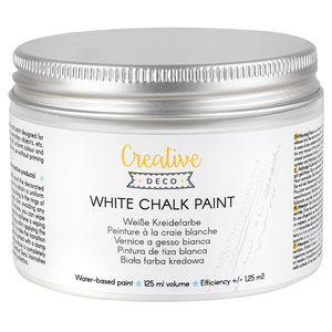 Creative Deco Weiße Kreidefarbe | 125 ml | Matt & abwaschbar | Perfekt für Möbelrenovierung, Dekoration & Decoupage | Wischeffekt und Gradienteffekt möglich
