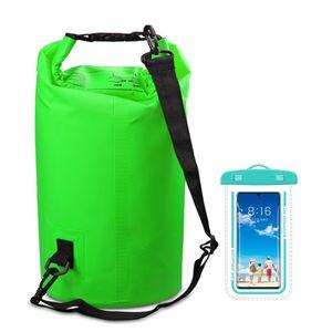 15L Grün Waterproof Dry Bag - Trockener Kompressionssack mit Rollverschluss hält Ausrüstung für Kajakfahren, Strand, Rafting, Bootfahren, Wandern, Camping und Angeln mit wasserdichter Telefonhülle trocken