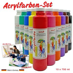 Acrylfarben 10er Set je 750 ml Künstlerfarben Acryl Malfarben Seidenmatt Pouring