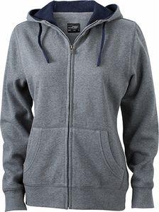 JN962 Damen Lifestyle Sweatshirt Jacke mit Kapuze, Größe:XL, Farbe:GREY