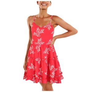 Damen personalisierte Mode Sexy Print Open Back Hosenträger Kleid Größe:L,Farbe:Rot