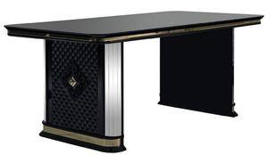 Casa Padrino Luxus Art Deco Esstisch Schwarz / Gold - Handgefertigter Massivholz Küchentisch mit Spiegelglas - Art Deco Esszimmer Möbel