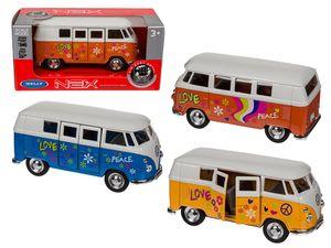VW Bulli Flower Power Bus 12 cm Modellauto 1963 Volkswagen 1:34, Variante wählen:56/0044 VW Bus Flower gelb