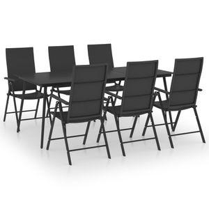 Gartenmöbel Essgruppe 6 Personen ,7-TLG. Terrassenmöbel Balkonset Sitzgruppe: Tisch mit 6 Stühle, Schwarz❀7180