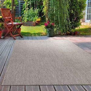 Robuster In- und Outdoor Flachgewebe Terrassen Teppich Natur Look In Grau, Maße:160x220 cm