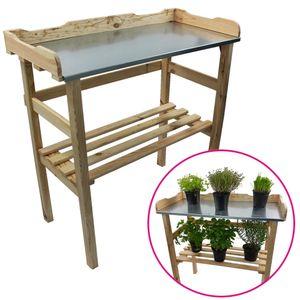 Pflanztisch aus Holz 82 x 78 x 38 cm in Natur mit verzinkter Metall-Arbeitsfläche Gartentisch aus  em Holz mit Ablagefläche Wetterfest Holzpflanztisch für Garten Balkon und Terrasse