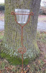 Stabiler Gartenstab Gartenstecker Beetstab Eisen Rost mit Glas 118 cm