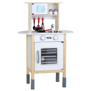 Spielwerk Kinderküche Spielküche Holzküche Spielzeug Happy Kitchen mit Mikrowelle 35 Teile Zubehör