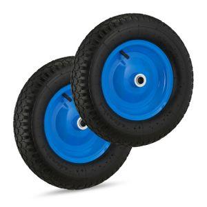 relaxdays 2 x Schubkarrenrad 4.80 4.00-8, Reifen schwarz-blau, Luftreifen Ersatzrad Luft