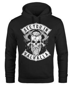 Hoodie Herren See You in Valhalla Wikinger Totenkopf Skull Print Kapuzen-Pullover Männer Fashion Streetstyle Neverless® schwarz XXL