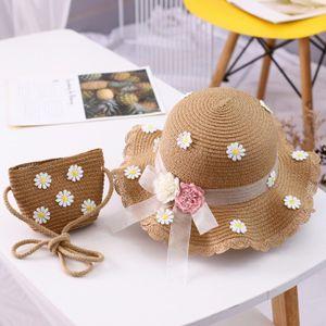 Kinder Strohhut und Kleine Tasche Set Mädchen Sommer Sonnenhut mit Blumendekoration für den Urlaub Reise Outdoor-Aktivitäten-Braun