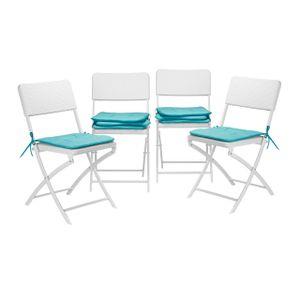 relaxdays Stuhlkissen 8er Set Sitzauflage Sitzkissen Stuhlauflage Gartenstuhl türkis 40x40