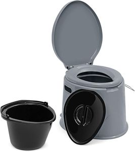 GOPLUS 5L Campingtoilette, Tragbare Toilette, Reisetoilette mit Toilettenpapierhalter, Nottoilette Eimertoilette, Komposttoilette mit Sitz und Deckel, mit abnehmbare Eimer, für Reise und Camping